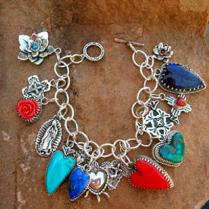 Southwestern Sterling Silver Multi Charm Turquoise Coral Rosarita Lapis by Traditional Spanish Market award winng native Santa Fe Artist Gregory Segura shown at Ortega's on the. Plaza