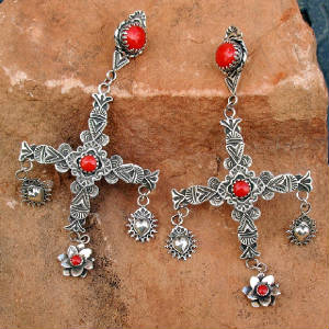 Sterling Silver Handmade Southwestern Jewelry Earrings by Native Santa Fe Silversmith and Spanish Market Award-winning Precious Metals Artist Gregory Segura with Cross and Sacred Heart and Mediterranean Gem Quality Coral