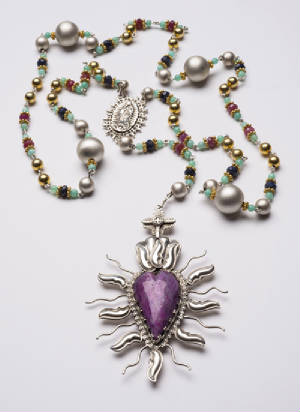 Southwestern Jewelry Designer Traditional Spanish Market award winning precious metals Gregory Segura_75ct_ruby_sacred_heart_rosary_3.jpg